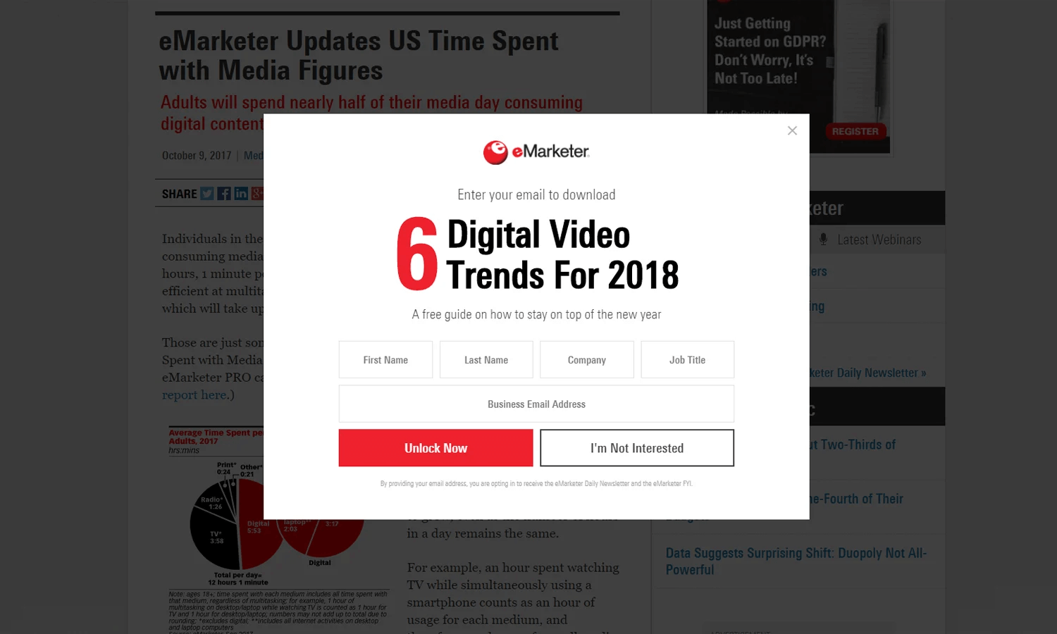 emarketer popup match the site
